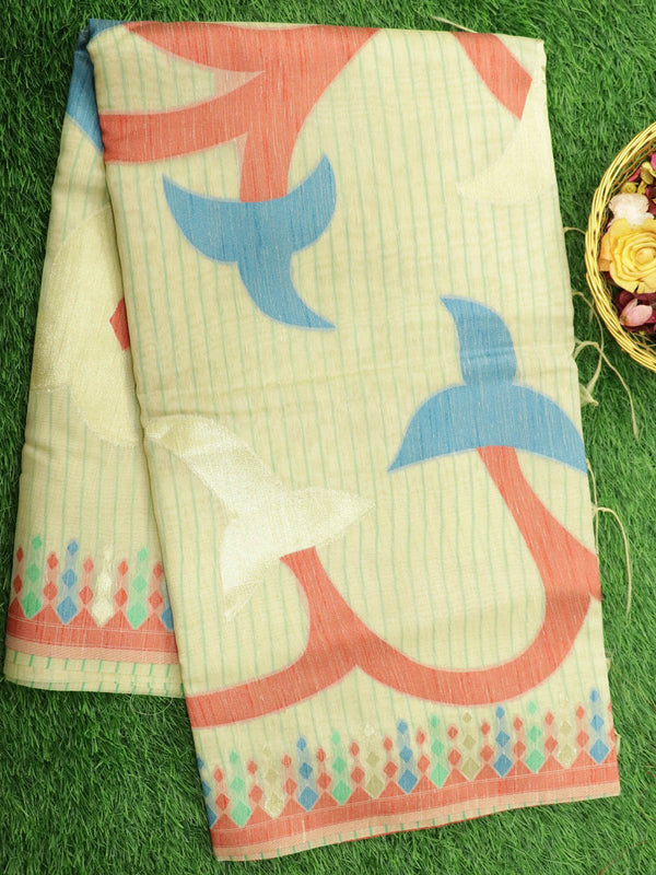 Silk Linen saree sandal with zari and thread woven floral buttas borderless style