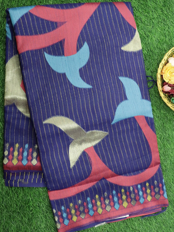 Silk Linen saree navy blue with zari and thread woven floral buttas borderless style