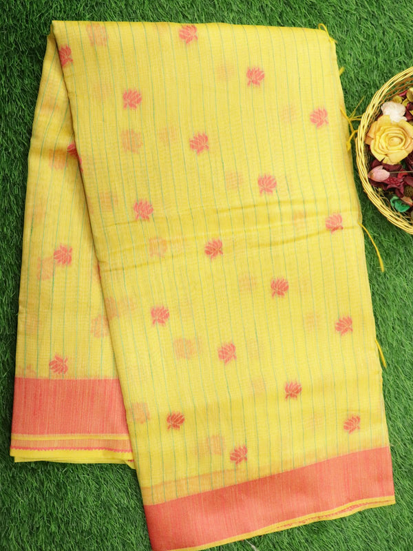 Silk Linen saree yellow with floral thread woven buttas and border