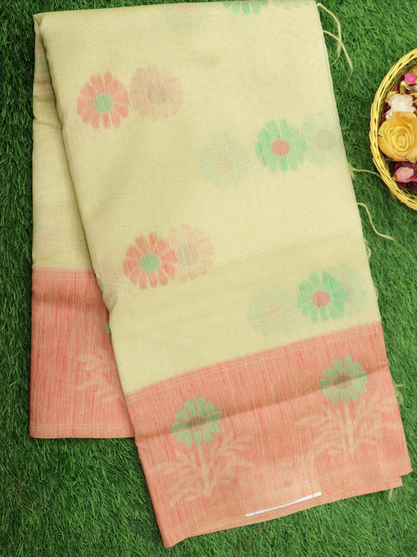 Silk Linen saree sandal with floral thread woven border and floral buttas
