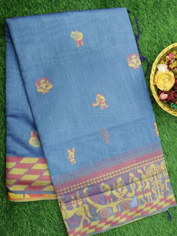 Silk Linen saree blue with thread woven warli stylle buttas and border