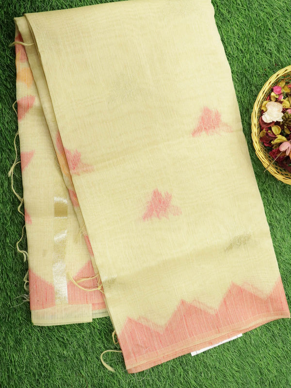 Silk Linen saree sandal with zari and thread woven buttas temple style border