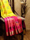 Ikkat Soft Silk Saree lemon yellow and pink with Kaddi Zari Border