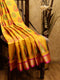 Ikkat Soft Silk Saree mustard yellow and pink with Kaddi Zari Border