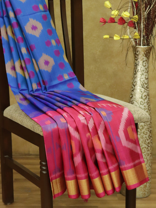 Ikkat Soft Silk Saree dual shade of blue and pink with Kaddi Zari Border
