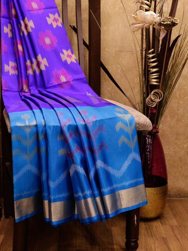 Ikkat Soft Silk Saree violet and cs blue with Kaddi Zari Border