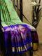 Ikkat Soft Silk Saree pista green and violet with Kaddi Zari Border