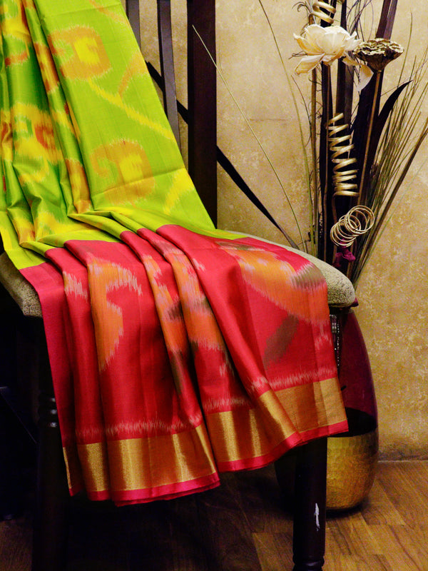 Ikkat Soft Silk Saree grass green and pink with Kaddi Zari Border