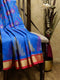Ikkat Soft Silk Saree blue and pink with Kaddi Zari Border