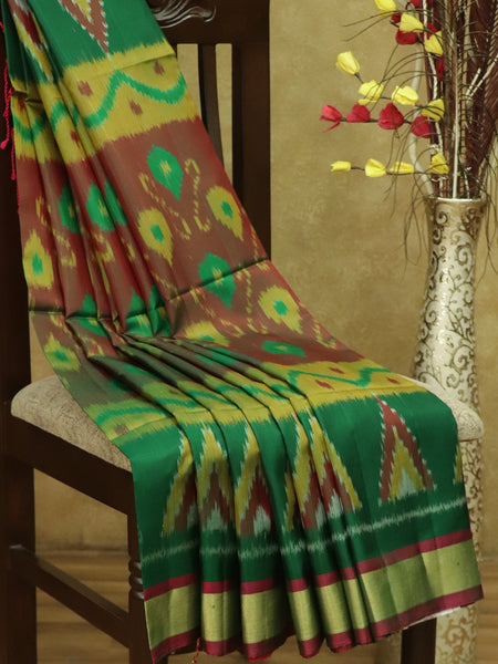 Ikkat Soft Silk Saree bottle green and tomato pink with Kaddi Zari Border