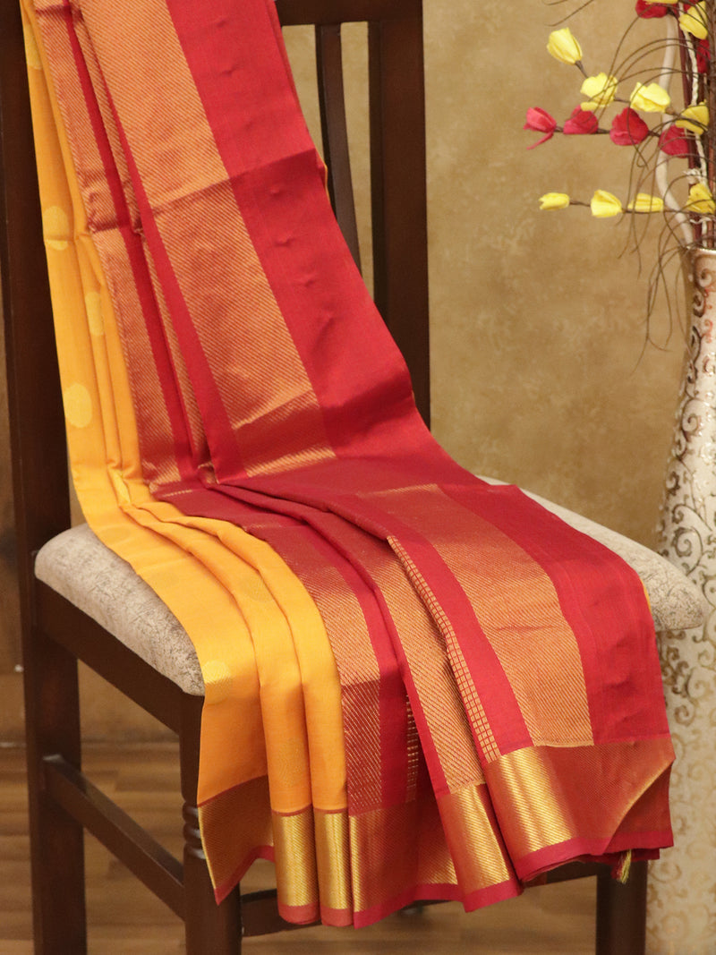 Silk Cotton Saree mango yellow and red with golden zari coin butta and bavanji border