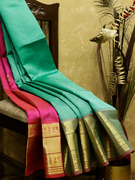 Silk Cotton Saree parly pallu teal green and pink with golden zari peacock border
