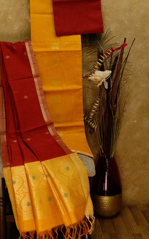 Silk Cotton dress material yellow and maroon with zari woven dupatta