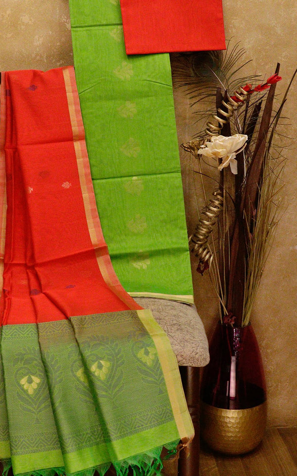 Silk Cotton dress material red with leaf green with thread woven dupatta