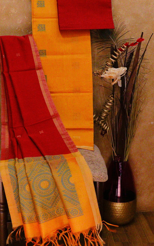 Silk Cotton dress material yellow and maroon with thread woven dupatta