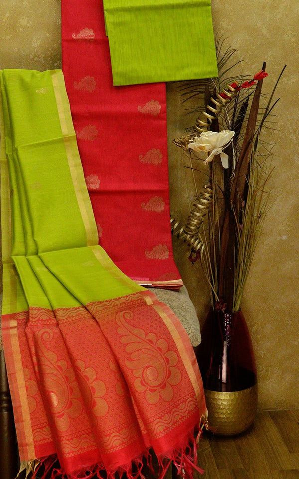 Silk Cotton dress material pink and green with thread woven dupatta
