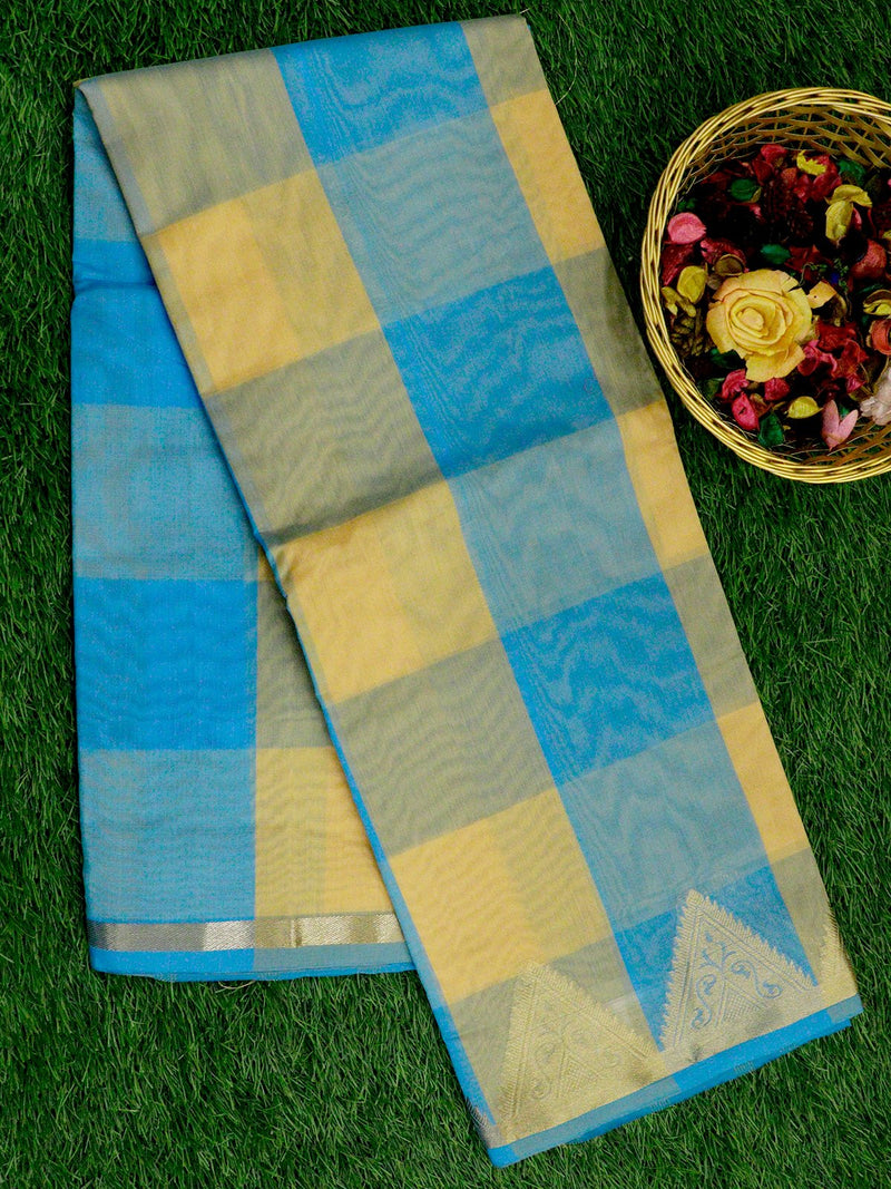 Chanderi Cotton Saree blue and yellow with checked pattern and zari woven temple border