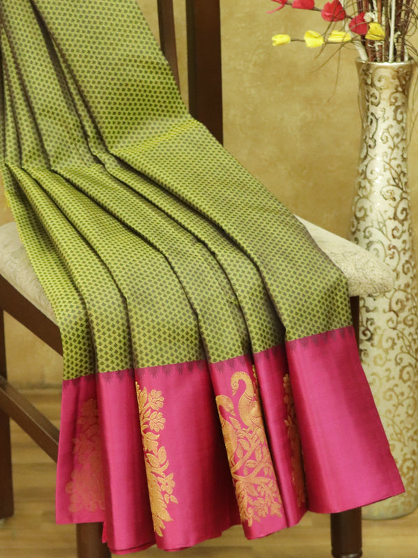 Pure kanjivaram silk sarees olive green and pink with allover self emboss and golden zari peacock butta border