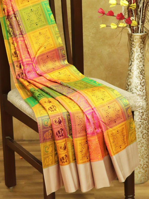 Pure kanjivaram silk sarees multi colour with checked woven pattern and plain borders
