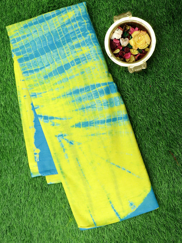 Jaipur cotton saree yellow and blue with shibori prints