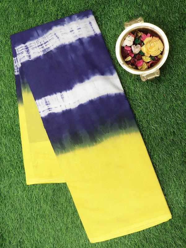 Jaipur cotton saree yellow and navy blue with shibori prints