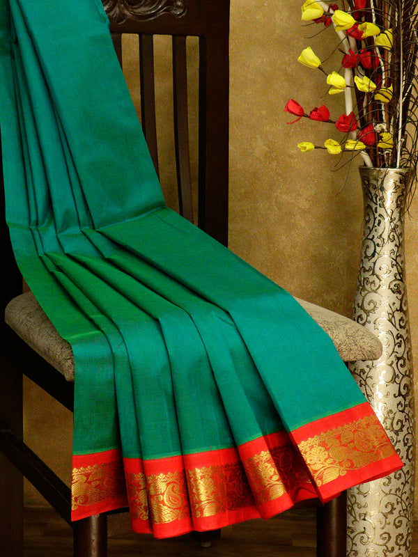 Silk cotton saree sea green and red with golden zari paisley and floral korvai border