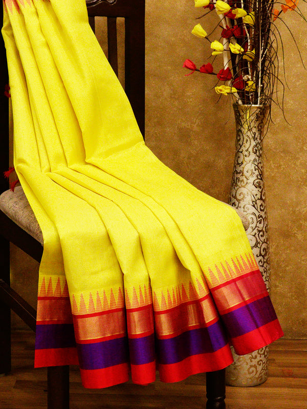 Kuppadam silk cotton saree yellow and hot pink with golden zari temple thread border