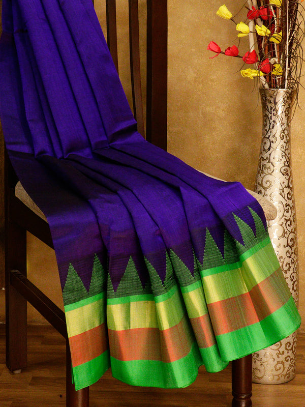 Kuppadam silk cotton saree navy blue and green with golden zari temple thread border