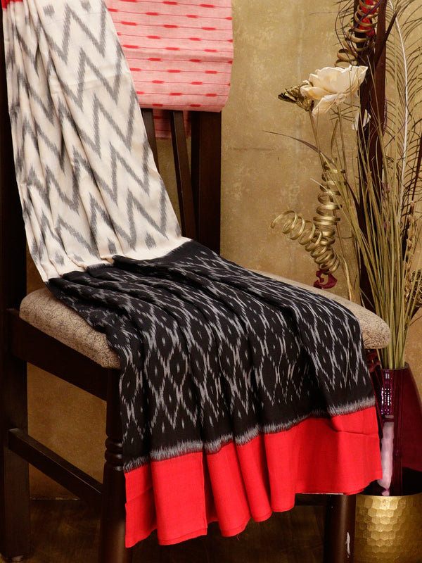 Ikkat Cotton Saree white black and red with woven ikkat bloue