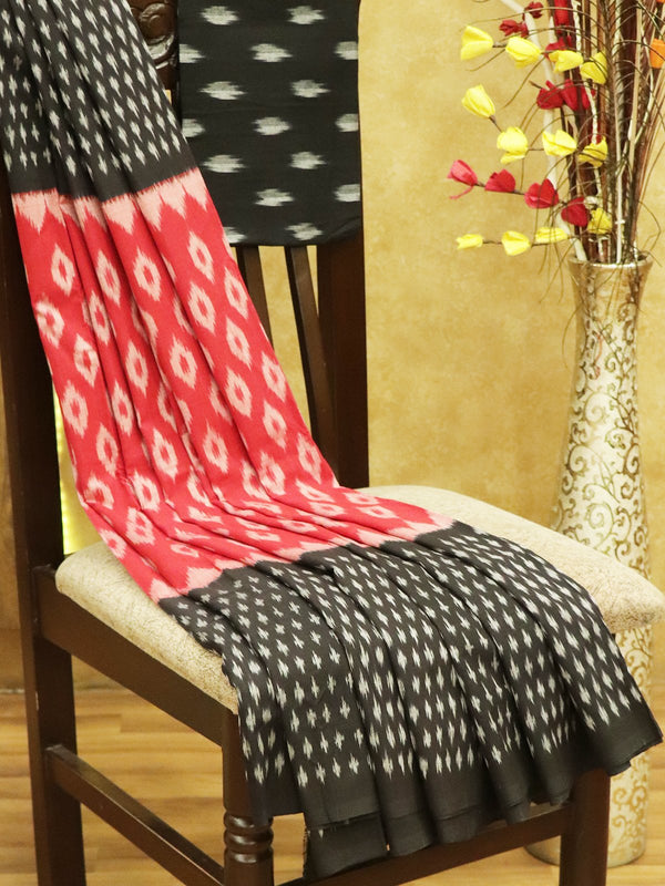 Ikkat Cotton Saree red and black with woven ikkat bloue