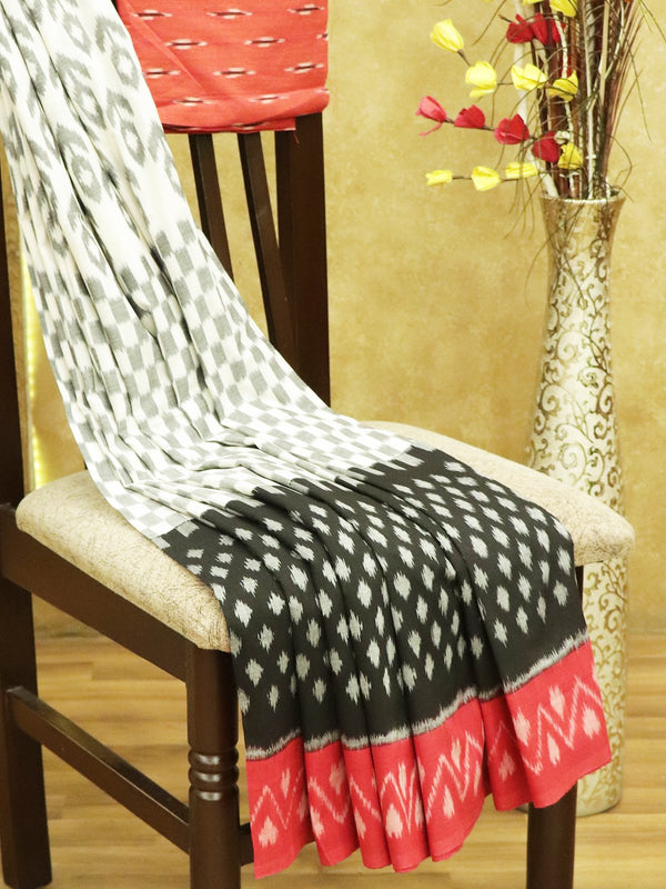 Ikkat Cotton Saree off white black and red with woven ikkat bloue