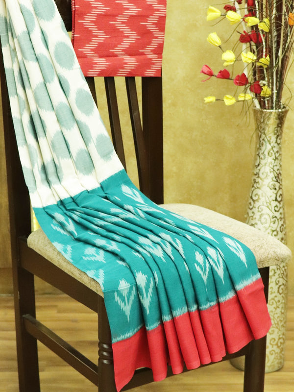 Ikkat Cotton Saree off white green and red with woven ikkat bloue