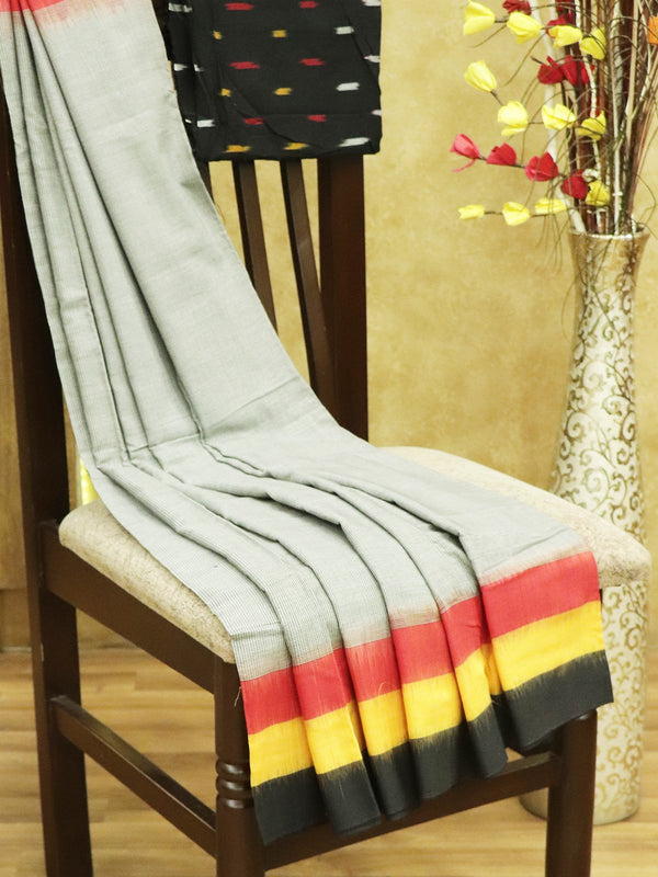 Ikkat Cotton Saree black red and yellow with woven ikkat bloue