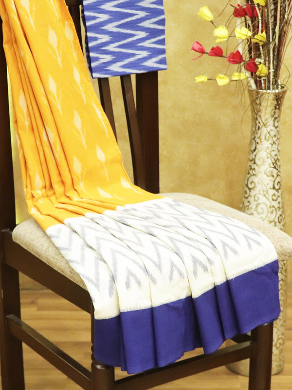 Ikkat Cotton Saree yellow white and blue with woven ikkat bloue
