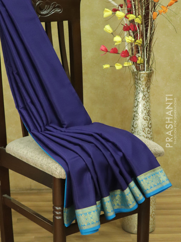 Pure Mysore Crepe Silk Saree navy blue and cs blue with traditional zari woven border