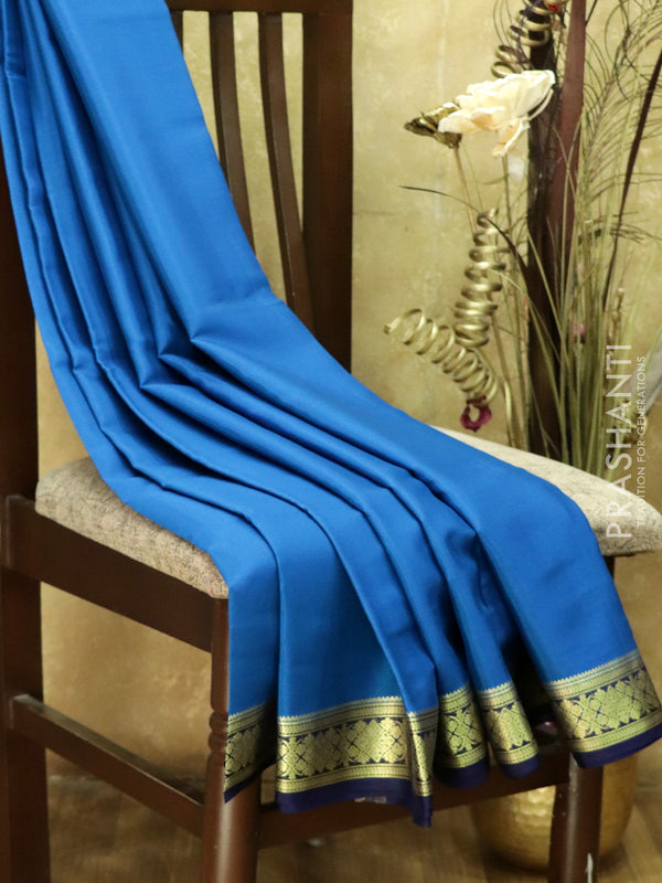 Pure Mysore Crepe Silk Saree blue and navy blue with traditional zari woven border