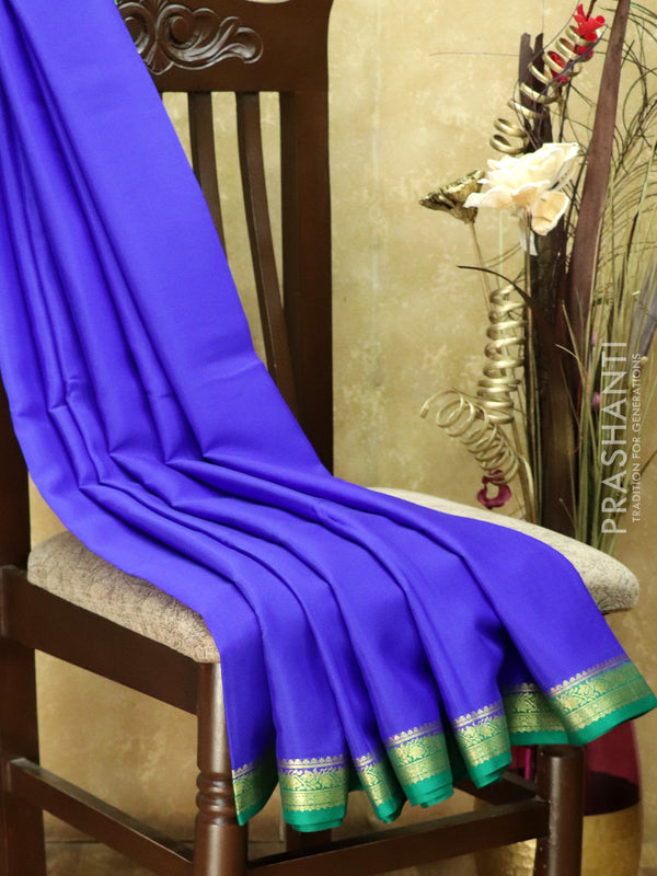 Pure Mysore Crepe Silk Saree royal blue and green with traditional zari woven border