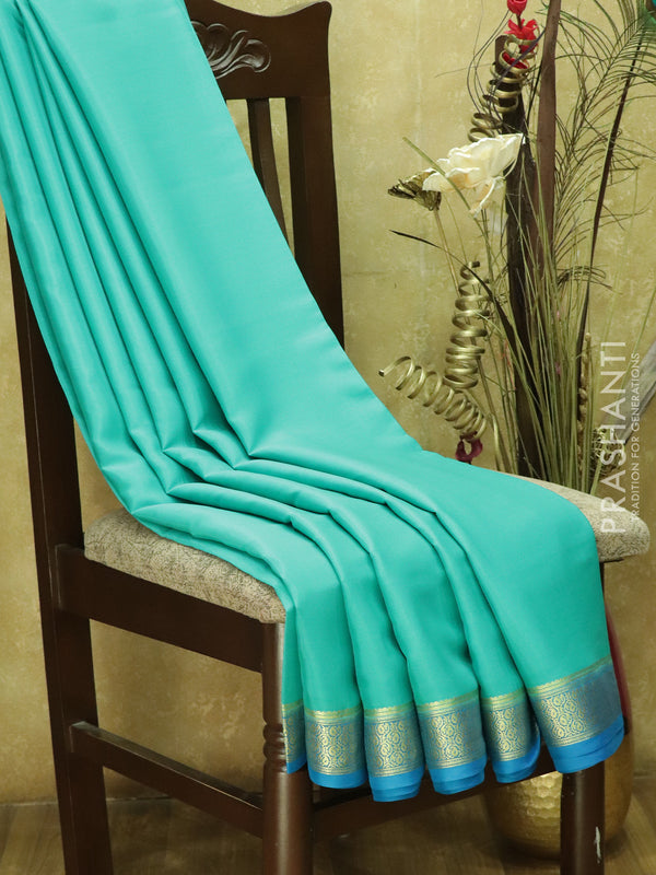Pure Mysore Crepe Silk Saree teal and blue with traditional zari woven border