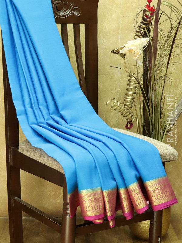 Pure Mysore Crepe Silk Saree cs blue and pink with traditional zari woven border