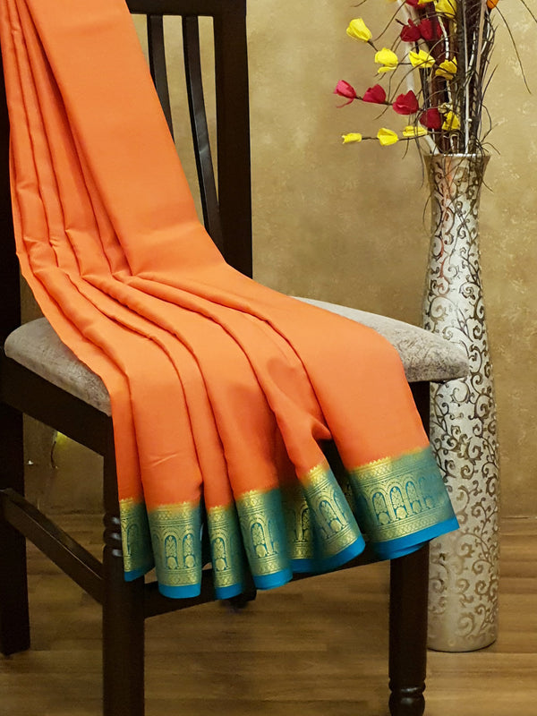 Pure Mysore Crepe Silk Saree peach and teal with traditional zari woven border