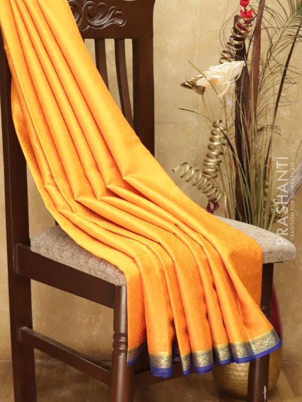 Pure Mysore Crepe Silk Saree yellow and blue with body embose and traditional zari woven border