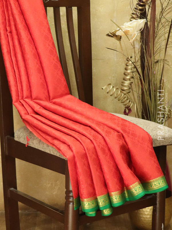 Pure Mysore Crepe Silk Saree red and green with body embose and traditional zari woven border