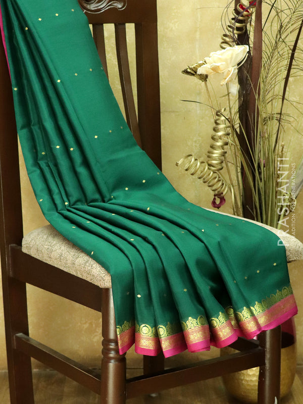 Pure Mysore Crepe Silk Saree green and pink with traditional zari woven border