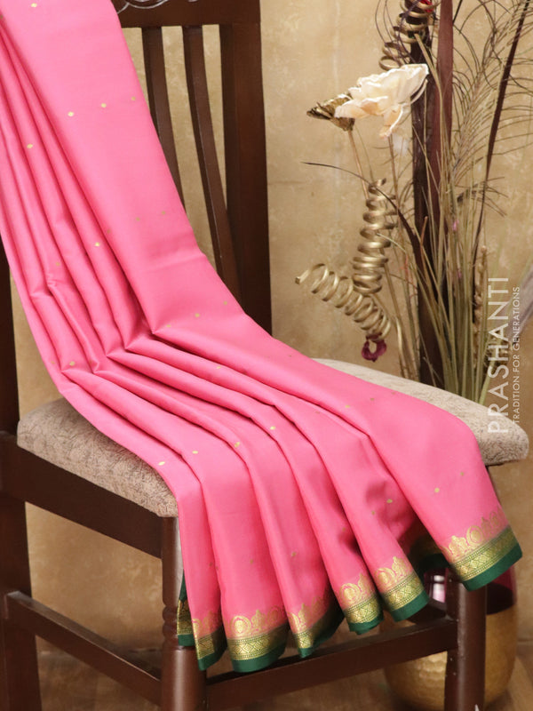 Pure Mysore Crepe Silk Saree pink and green with traditional zari woven border
