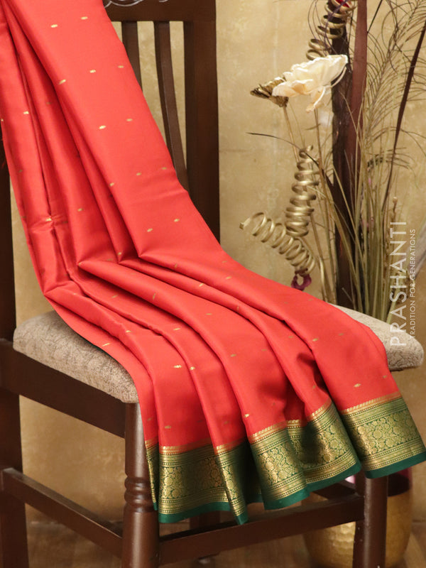 Pure Mysore Crepe Silk Saree red and green with traditional zari woven border