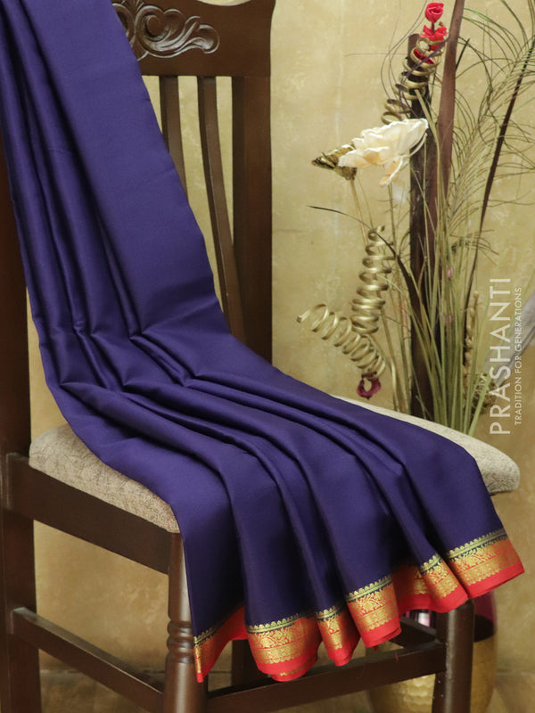 Pure Mysore Crepe Silk Saree navy blue and red with traditional zari woven border
