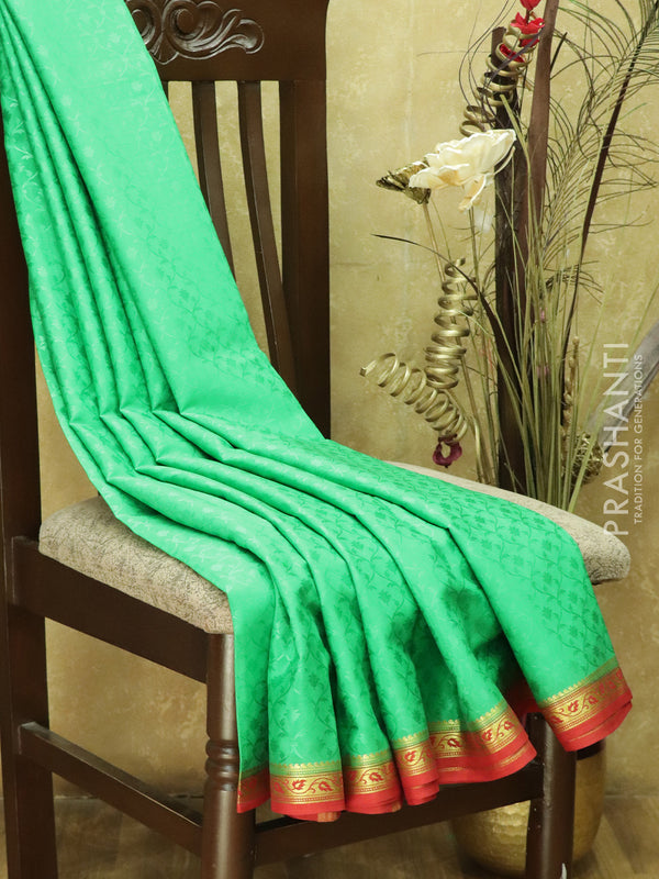 Pure Mysore Crepe Silk Saree green and red with traditional zari woven border