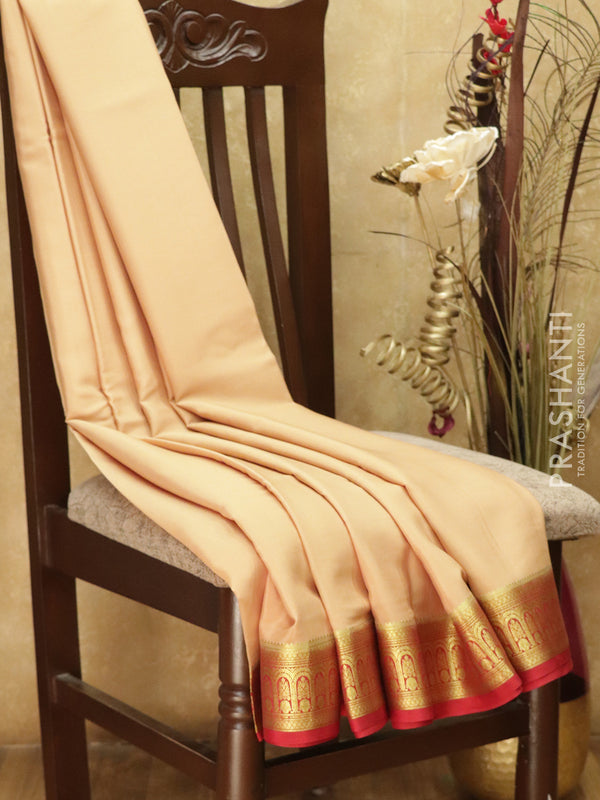 Pure Mysore Crepe Silk Saree beige and red with traditional zari woven border