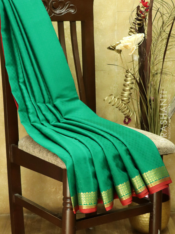 Pure Mysore Crepe Silk Saree green and red with body embose and traditional zari woven border