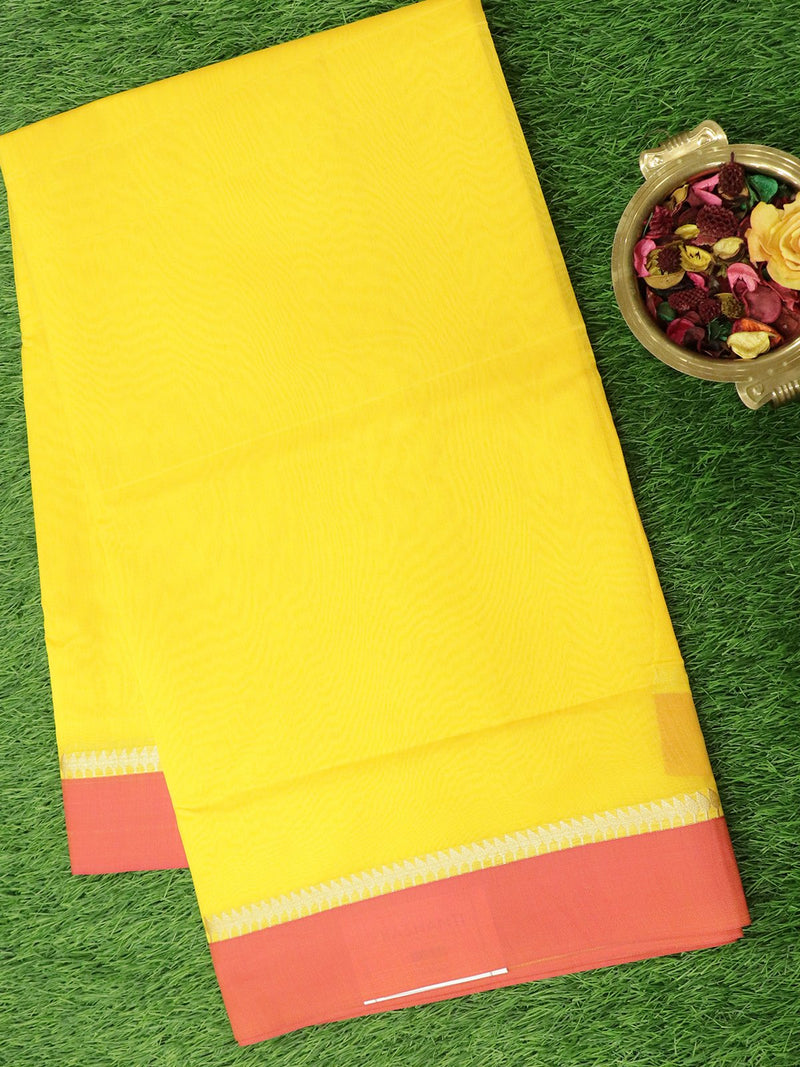 Semi Silk Cotton Saree yellow and pink with plain body and simple zari border